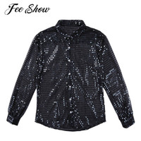 ingrosso camicie mesh mesh-Feeshow Mens alla moda Shiny Paillettes Vedere attraverso maglia Maglie Clubwear maniche lunghe Loose Fit Party Dance Performance Top Camicia