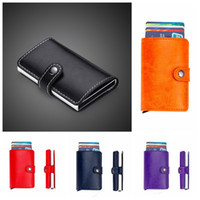 Wholesale pu leather business card holder case for sale - Multicolor Men Women Business Leather Automatic Credit Card Holder Mini Wallet ID Case Purse Bag Gift Organizer NNA314