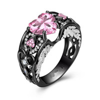 Wholesale Silver Rings Pink Diamonds - Victoria Wieck choucong Sparkling Jewelry 925 Sterling Silver&Black Gold Filled Heart Shape Pink Sapphire CZ Diamond Gemstones Wing Ring