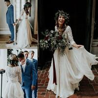 ingrosso abiti estivi della boemia-2019 Beach vestido de novia Abiti da sposa economici A-Line Chiffon Ruffle Lace Top Summer Wedding Gown Custom Made Bohemian Bridal Gowns