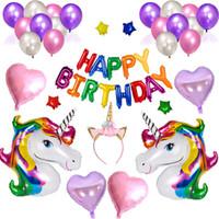 ingrosso l'acquazzone del bambino fornisce il trasporto libero-Commercio all'ingrosso 1 Set Unicorn Happy Birthday Party Balloon Set gonfiabile Unicorn Foil Ballons Baby Shower Party Supplies Spedizione gratuita