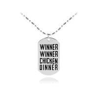 Wholesale chicken pendants - 2018 New PUBG DogTag Playerunknown's Battlegrounds Dog tag Necklace WINNER WINNER CHICKEN DINNER Necklace Personalized Gift
