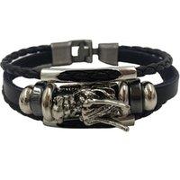 ingrosso braccialetti in argento tibetano uomo-Bracciale uomo homme 2018 argento tibetano uomini braccialetto in pelle moda maschile vintage parataxis drago gioielli multistrato