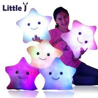 Wholesale Little Led Lights - Little J Smiley Luminous pillow Christmas Toys Led Light Pillow Plush Pillows Colorful Stars kids Toys Children Birthday Gift