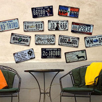Wholesale art license for sale - Retro License Plate Metal Wall Painting Sticker Multi Themes Bar Garage Restaurant Art Motor Craft TIN SIGN Wall Stickers Decoration MWP