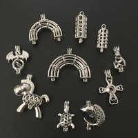 Wholesale cross pendants for jewelry making - Mixed 10pcs Silver Dragon Cross Rainbow Pearl Beads Cage Pendant Locket For Essential Oil Diffuser Necklace Jewelry Making Gift