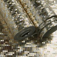 papier peint de la salle d'or achat en gros de-Gros-Home Decor Amélioration 3D relief feuille d'or métallique papier peint pour les murs 3 D salon bureau papel de parede QZ0192