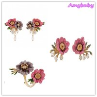 Wholesale Les Nereides - Amybaby France Paris Winter Garden Les Nereides Pink Peony Twilight Flower Pearls Adjustable Ring Charms Earrings jewelry Set