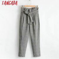 Wholesale Ladies Plaid Pants - Wholesale-Tangada Cute Korea Women Female Harem Pants Ladies Plaid Trousers With Belt OL Female Casual Pants & Capris Bottom SY33
