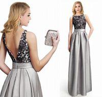 ingrosso abiti da damigella d'onore neri-Black Lace Grey Satin A Line Abiti da spettacolo Pageant da donna Custom Bridal Gown Special Occasion Prom Damigella Party Dress 17LF536