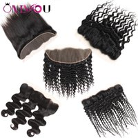 Wholesale black curly weave hair extensions online - Raw Indian Virgin Hair Extensions Remy Human Hair Weaves Closure Top Lace Frontal Closure Straight Deep Kinky Curly Deals for Black Women