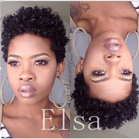 Wholesale afro baby human hair resale online - Human Hair Wigs For Black Women Peruvian Afro Kinky Curly Lace Front Wigs With Baby Hair inch human hair wigs