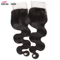 Wholesale natural wave fashion - Good 8A Brazilian Peruvian Malaysian Indian Virgin Hair Fashion Body Wave Closure Cheap Human Hair Weave Swiss 4*4 Lace Closure Free Middle