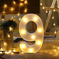 pantallas led de interior al por mayor-Fiesta de la boda decoración de la pared interior de carta número de eco-friendly Digital Light Led de luz blanca de arriba símbolo decoración luz de la ventana de visualización