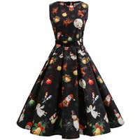 Wholesale plus size womens summer clothing for sale - Women s Clothing Summer Christmas plus size Casual Dresses for womens Hepburn wind Sleeveless vintage prom dress expansion full skirt