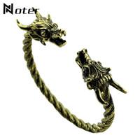 Wholesale men gothic silver bracelets resale online - Gothic Viking Bracelet Men Vintage Gold Silver Black Color Dragon Head Design Metal Bracelet Bangles Man Jewelry Pulsera Hombre