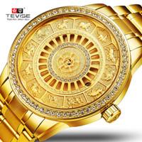 tevise роскошные мужчины оптовых-TEVISE мужчины механический часы скелет Автовытяжку Зодиака часы автоподзавод водонепроницаемый роскошные золотые часы Relogio мужской