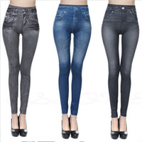 Wholesale black denim jeggings - 3 Colors Jean Skinny Jeggings Women Stretchy Denim Pants Leggings Jeans Pencil Tight Trousers Slim Leggings AAA187