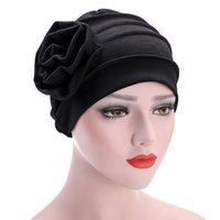 Wholesale derby cover - Muslim Stretch Flower Turban Caps Ruffle Floral Bonnet Beanie Head Wrap Chemo Cap Hast Ladies Hair Loss Head Scarf Wrap Cover