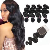 Wholesale best brazilian body wave closure resale online - Best A Brazilian Hair Human Hair Bundles With Closure Body Wave Peruvian Human Hair Weave bundles With Closure