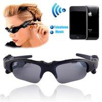 musik für sonnenbrillen großhandel-Sonnenbrille Bluetooth Kopfhörer Sunglass Stereo drahtloser Sport Kopfhörer freihändiger Kopfhörer MP3 Musik Spieler mit Kleinpaket
