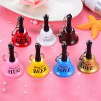 Wholesale car bell resale online - New English metal hand bells key chain creative bells pendant travel crafts bells
