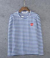 marka uzun kollu gömlek erkek çizgili toptan satış-19SS marka gc bb F Teyze kadın T Gömlek Oyun Nakış Kırmızı kalp dalga şerit Erkekler Severler T-Shirt Kazak uzun kollu Tees hoodies Tops
