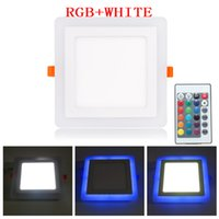 Discount led square panels rgb - NEW Ultra Thin LED Down Light Lamp 6W 9W 18W 24W Dual Color LED Panel Light RGB Slim Square Panel for Home