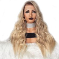 Wholesale two toned blue lace wig - Long Ombre Blonde Silk body wave Synthetic Lace Front Wig Glueless Two Tone Natural Black Blonde Heat Resistant Hair Women Wigs