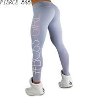 Wholesale legging spandex high waist - Women's Pants Boss Girl Printed High Waist Sport Leggings 2017 Fitness Legging Gym Clothing For Women mallas mujer deportivas