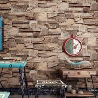 tapetenrollenstreifen großhandel-3D Brick Streifen Tapete Restaurant Bar Retro Hintergrund Wandaufkleber Vliesstoff Wohnzimmer Dekorieren Heißer Verkauf 38yc Ww