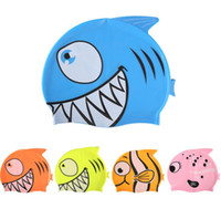 nette karikaturfische großhandel-Cute Baby Silikon Badekappe Cartoon Fisch Clownfish elastische Badekappe cute Boy Girl Swim Pool Bad elastische dauerhafte Hut Infant Badekappen