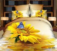 ingrosso stampanti giallo di stampa-4 / 5pcs girasole set biancheria da letto consolatore regina formato 3d motivi floreali copriletto king size bambini adulto home decor regalo giallo