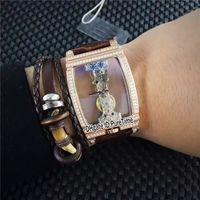Wholesale bridge pins resale online - New Golden Bridge B113 Rose Gold Diamond Bezel Mechanical Hand Winding Mens Watch Brown Leather Strap