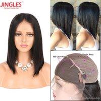 Wholesale long bob cut wigs - Jingleshair Brazilian human hair 360 Lace Wig Unprocessed Virgin Remy Human Hair Wigs pre plucked With baby hair bleached knots bob cut