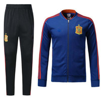 Wholesale Football Training Kits - 2018 New Spain Jacket Tracksuit camiseta españa Morata A.INIESTA FABREGAS RAMOS DIEGO ISCO Top quality Men's Football Jackets Training kit