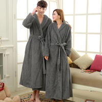 Wholesale thick warm winter mens shirts - Mens Extra Long Thick Warm Winter Bathrobe Silk Soft Waffle Flannel Bath Robe Men Kimono Robes Full Sleeve Male Dressing Gown