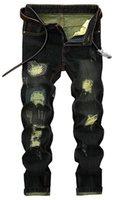 kovboy kot delikleri toptan satış-(Toptan / perakende) Erkek pantolon sıcak tarzı delik kovboy düz tüp nostaljik yama trendi jeans.28-42