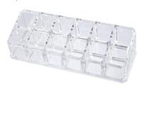 kosmetiktische großhandel-12 Lippenstift Halter Ausstellungsstand Klar Acryl Tabelle Cosmetic Organizer Aufbewahrungsbox Für Frauen Schmuck Make-Up Container