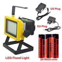 batería led spotlight al por mayor-Luz de inundación portátil recargable de 30 vatios Inalámbrica Lámpara de trabajo con reflector de 20LED Lámpara de dispositivo de emergencia para exteriores con cargador de batería