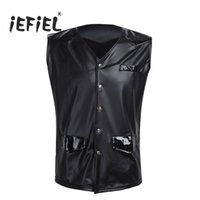 Wholesale Leather Vests For Men - Men PU Leather Splice Patent Leather V-neck Sleeveless Vest with Front Snap Buttons Pockets Clubwear Tank Tops Clothes for Men's