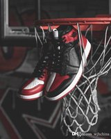 Wholesale mens high top tennis shoes - 2018 New Top High 1 OG Homage To Home Banned Chicago Men 1s Basketball Shoes Best Quality Mandarin duck MENS Sport Sneakers Shoes Size 7-13