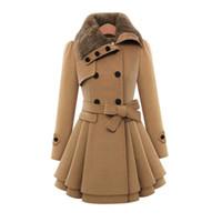 ingrosso cappotti di lana caldo-Cappotto di lana delle donne eleganti CALDE Donna Inverno Autunno Lace Up Slim Gonne Giacca monopetto Robe Capispalla Warm Manteau Femme
