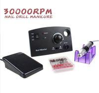 Wholesale Nail Drill Diamond - 30000 RPM Electric Nail Drill Pro White Black Diamond Nail Drill File Machine Maniure and Pedicure Drill Polish For Gel Polish