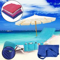 ingrosso sedia copre tasche-sedia Asciugamani da spiaggia Copertura per sdraio Sun Lounge con borsa grande Tasca grande a bordo piscina Giardino per il tempo libero Asciugamani da spiaggia Serviette BBA82
