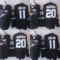 nouveaux maillots de hockey sur glace noirs achat en gros de-2017-2018 Nouvelle saison cousu San Jose Sharks # 11 Owen NOLAN 20 Evgeni Nabokov Blank Maillots de Hockey sur glace Noir