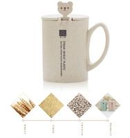büroumwelt großhandel-Weizen Stroh Faser Becher mit Deckel Griff Umweltschutz Wasser Kaffeetasse mit Löffel Büro Tasse Kaffeetasse benutzerdefinierte Logo