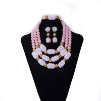 ingrosso gioielli a colori in corallo-Nigerian Wedding Beads Jewelry Peach Colour Coral and Crystal Beads Women Beaded Necklace African Wedding Bridal Beads Jewelry Set