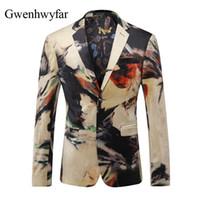 ingrosso blazers di moda unici-Giacca da uomo unica giacca casual slim fit moda in fiore modello da uomo giacca blazer di piccole dimensioni festa di nozze costumi di scena giacca