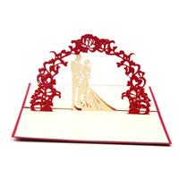 hochzeitseinladungen rotes 3d großhandel-Hochzeits-Einladungs-Segen-Karte 10PS Hochzeits-Karten-3D kreative mit roter Abdeckung Hochzeits-Karten Einladung 2018